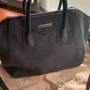 CHARLES JOURDAN Grey-Blue Leather Shoulder Bag